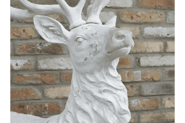 Laying Stag Garden Sculpture - White
